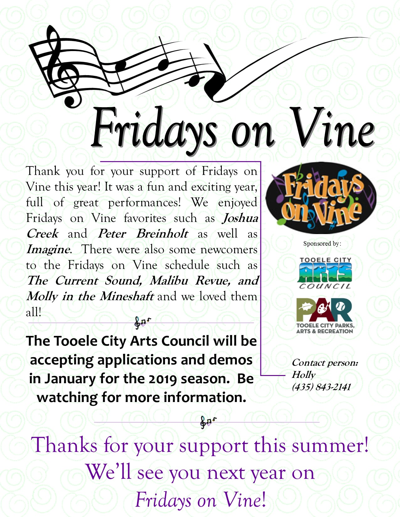 Thank You For Supporting Fridays on Vine