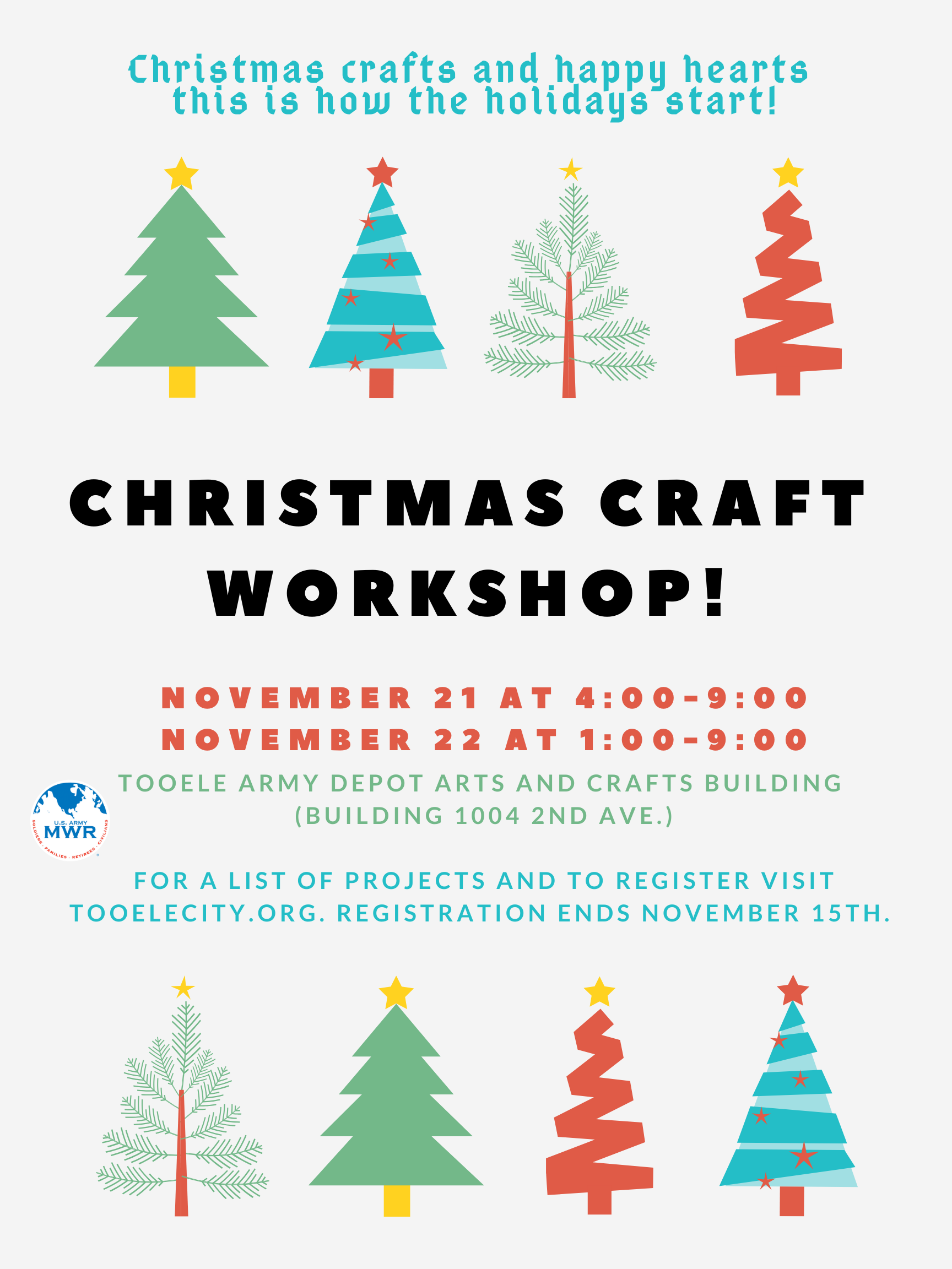 Christmas Craft Workshop 2019 @ Tooele Army Depot Arts & Craft Center (Building 1004 2nd Avenue) | Tooele | Utah | United States