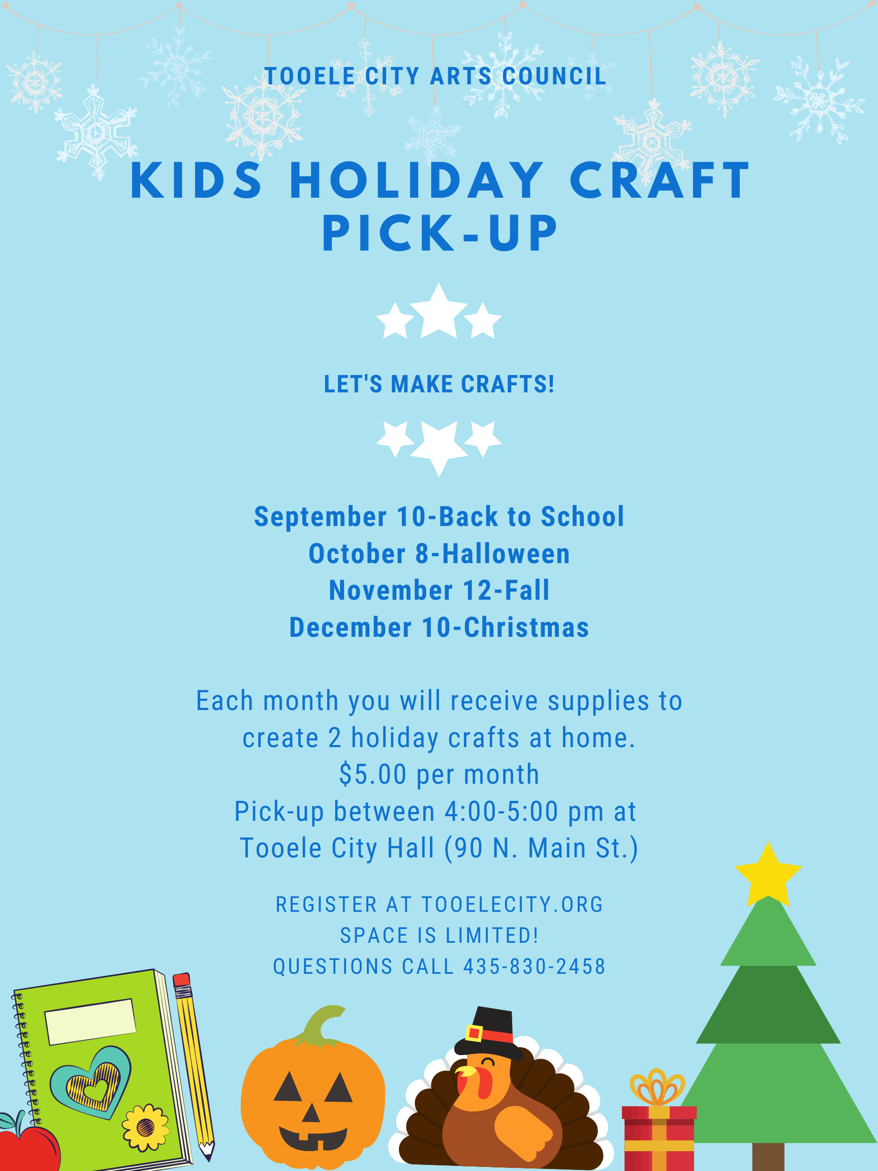 Kids Holiday Craft Pick Up - September  @ Tooele City Hall | Tooele | Utah | United States