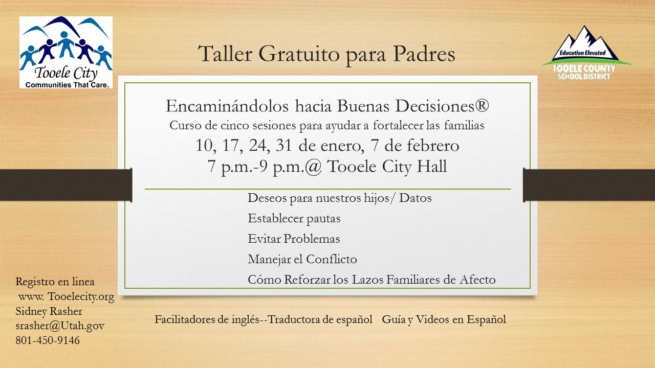 Guiding Good Choices FREE Parenting & Family Workshops (Spanish Speaking Session) @ Tooele City Hall | Tooele | Utah | United States