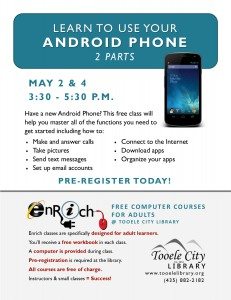 Free Class: Android Phone Essentials Part 1 (Adults) @ Tooele City Library | Tooele | Utah | United States