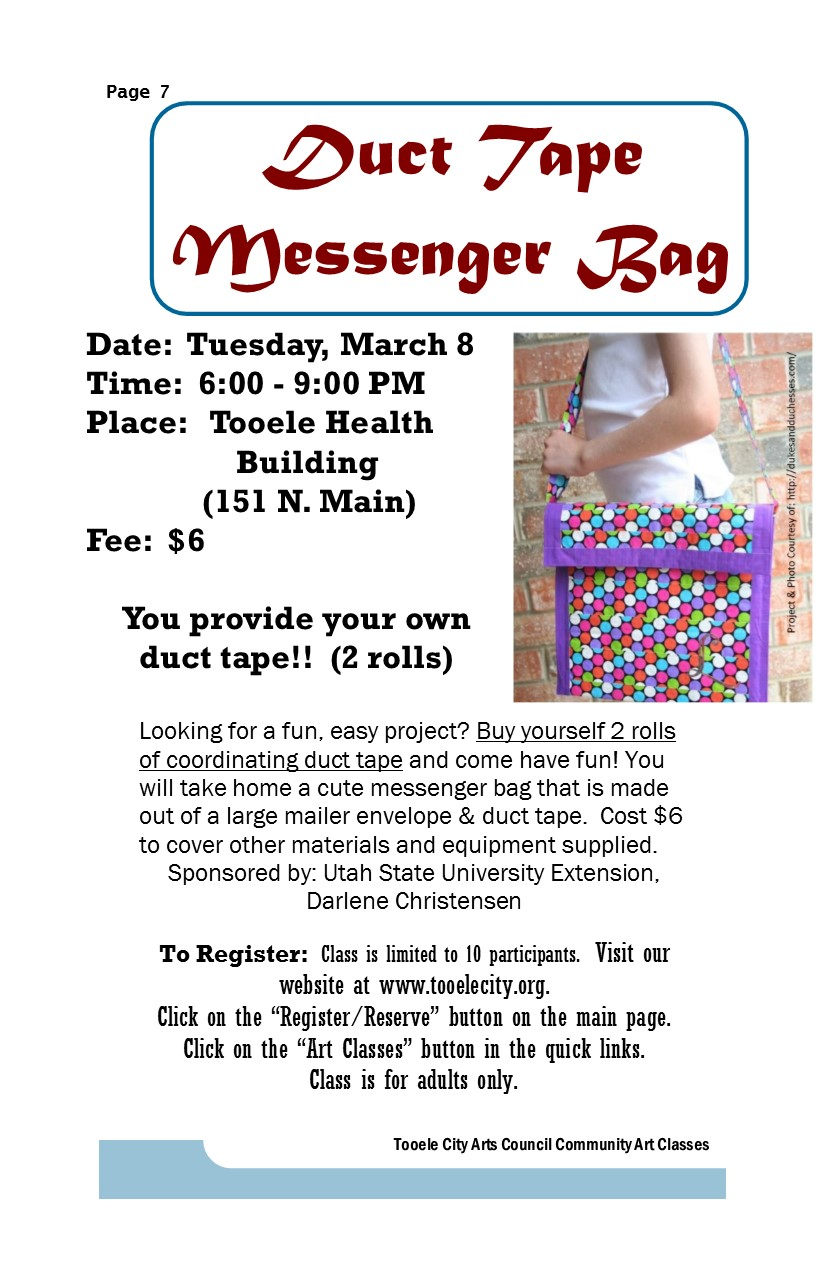 Duct Tape Messenger Bag class @ Tooele County Health Department | Tooele | Utah | United States