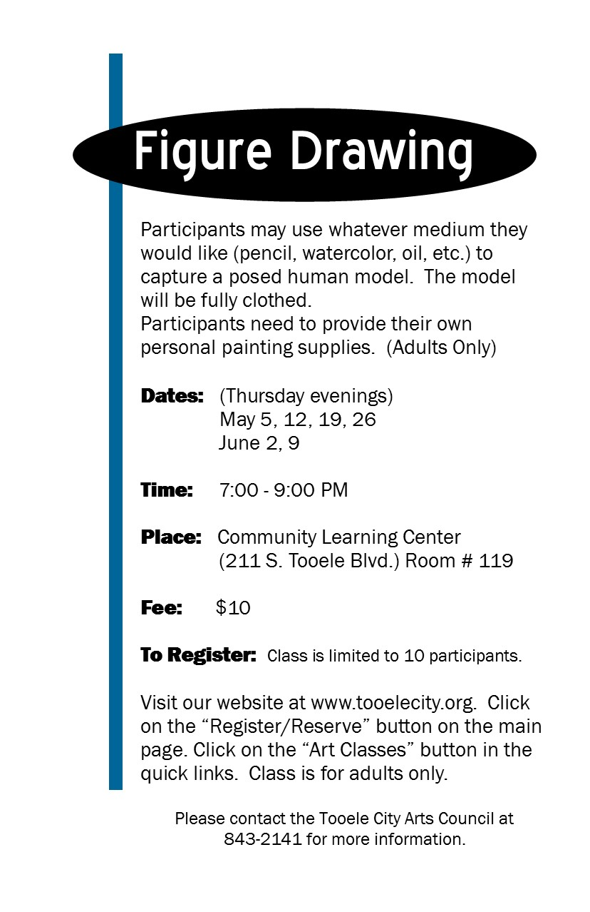 Figure Drawing (Spring 2016) Class Begins @ Community Learning Center Room#119 | Tooele | Utah | United States