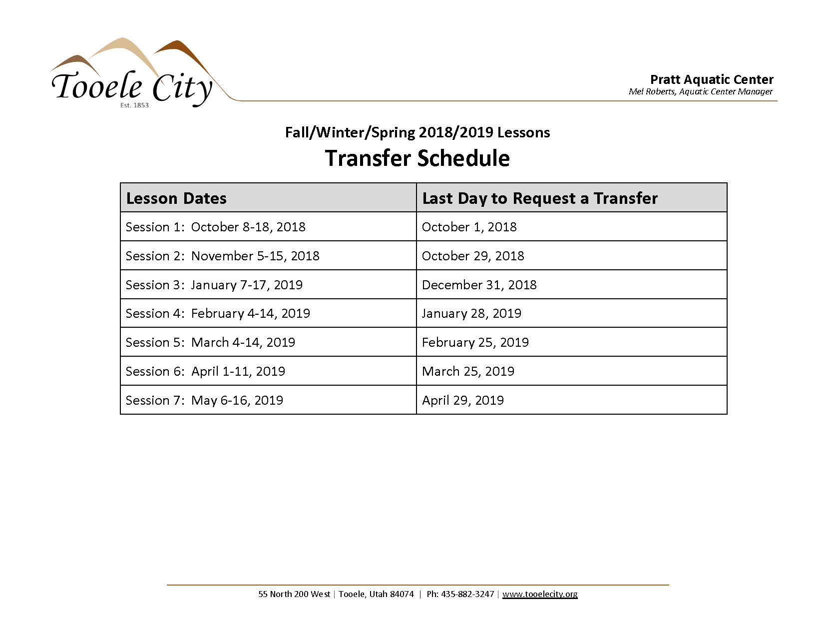 Lesson Transfer Schedule Fall/Winter/Spring 2018-2019