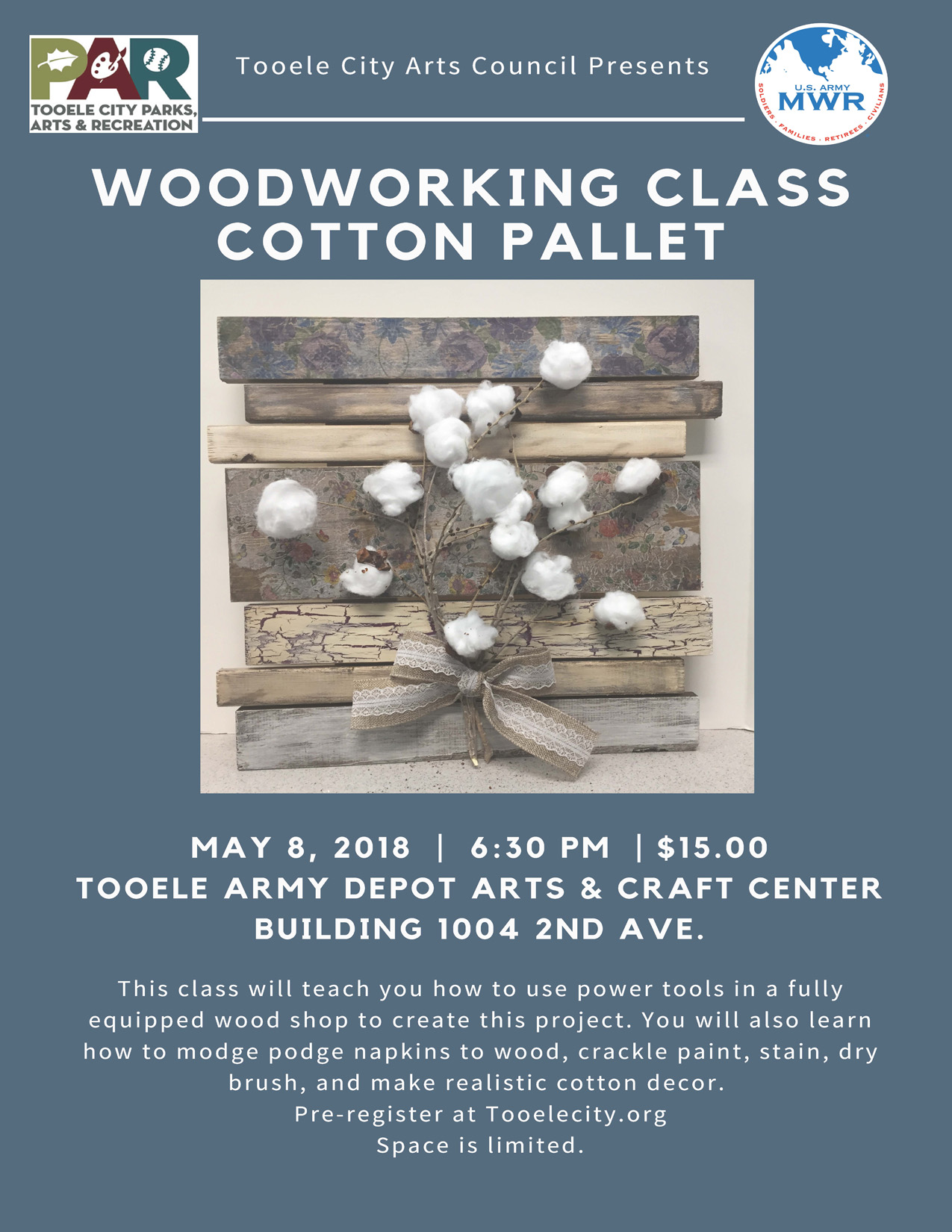 Woodworking Class @ Tooele Army Depot Arts & Craft Center (Building 1004 2nd Avenue) | Tooele | Utah | United States