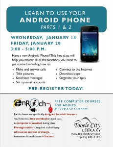 Free Computer Course: Android Phone Essentials Part 1 (Adults) @ Tooele City Library | Tooele | Utah | United States