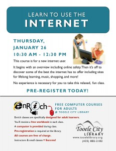Free Computer Course: Exploring the Internet (Adults) @ Tooele City Library | Tooele | Utah | United States