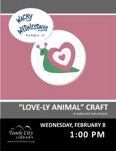 Wacky Wednesday: Lovely Animal Craft @ Tooele City Library | Tooele | Utah | United States