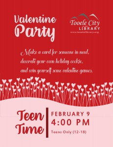 Teen Time: Valentine Party @ Tooele City Library | Tooele | Utah | United States
