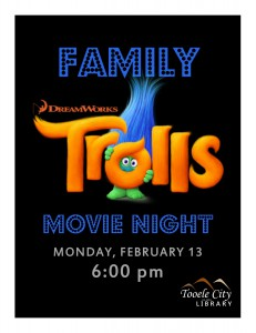 Family Movie Night: Trolls @ Tooele City Library | Tooele | Utah | United States