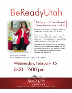 Emergency Prep Talk with the Earthquake Lady @ Tooele City Library   Tooele   Utah   United States