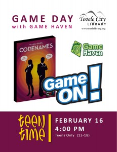Teen Time: Game On! Codenames @ Tooele City Library | Tooele | Utah | United States