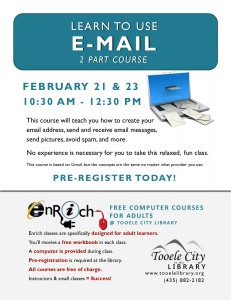 Free Computer Course: Introduction to Email. Part 2 (Adults) @ Tooele City Library | Tooele | Utah | United States
