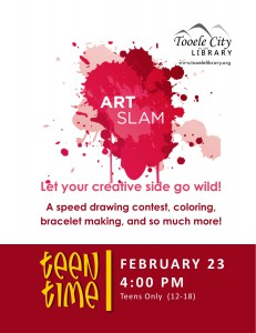 Teen Time: Art Slam @ Tooele City Library | Tooele | Utah | United States