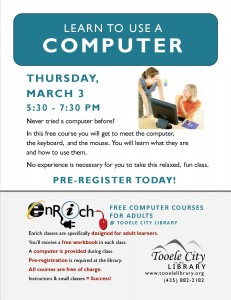 Free Computer Course: Meet the Computer (Adults) @ Tooele City Library | Tooele | Utah | United States