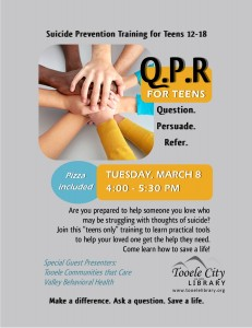 QPR for Teens: Suicide Prevention Training @ Tooele City Library | Tooele | Utah | United States