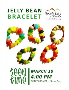 Teen Time Project: Jelly Bean Jewelry @ Tooele City Library | Tooele | Utah | United States