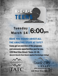 REAL Teens: TATC @ Tooele City Library | Tooele | Utah | United States