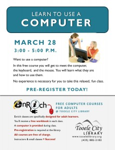 Free Computer Course: Meet the Computer (Adults) @ Tooele City Library   Tooele   Utah   United States