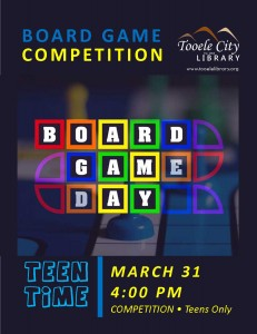 Teen Time: Board Game Competition @ Tooele City Library | Tooele | Utah | United States