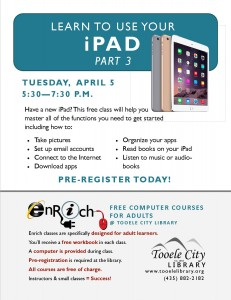 Free Computer Course: iPad Essentials-Part 3 (Adults) @ Tooele City Library | Tooele | Utah | United States
