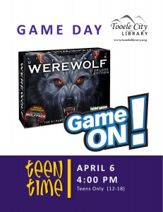 Teen Time: Game On! Werewolf @ Tooele City Library | Tooele | Utah | United States
