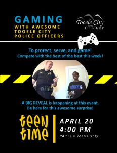 Teen Time: Game with Tooele City Police @ Tooele City Library | Tooele | Utah | United States