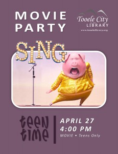 Teen Time: Sing Movie @ Tooele City Library | Tooele | Utah | United States