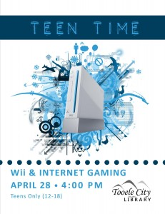 Teen Time: Wii & Internet Gaming @ Tooele City Library | Tooele | Utah | United States