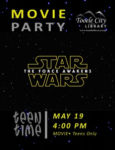 Teen Time: Star Wars The Force Awakens (Movie) @ Tooele City Library | Tooele | Utah | United States