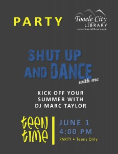 Teen Time: Shut Up and Dance Party @ Tooele City Library | Tooele | Utah | United States