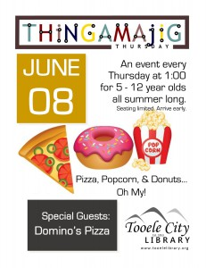 Thing-A-Ma-Jig Thursday: Pizza, Popcorn, Donuts, Oh My! @ Tooele City Library | Tooele | Utah | United States