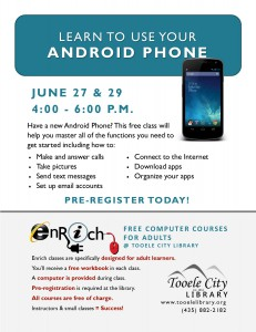 Free Class: Android Phone Essentials Part 1 @ Tooele City Library | Tooele | Utah | United States