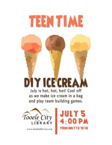 Teen Time: DIY Ice Cream and Games @ Tooele City Library | Tooele | Utah | United States