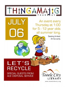 Thing-A-Ma-Jig Thursday: Let's Recycle @ Tooele City Library | Tooele | Utah | United States