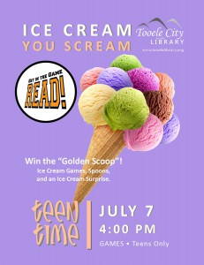 Teen Time: Ice Cream You Scream @ Tooele City Library | Tooele | Utah | United States