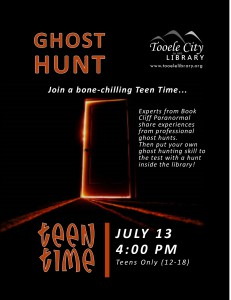 Teen Time: Ghost Hunt @ Tooele City Library | Tooele | Utah | United States