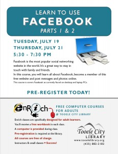 Free Computer Course: Introduction to Facebook. Part 1 @ Tooele City Library | Tooele | Utah | United States