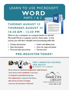 Free Computer Course: Microsoft Word-Part 1 (Adults) @ Tooele City Library | Tooele | Utah | United States