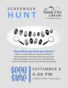 Teen Time: Scavenger Hunt @ Tooele City Library | Tooele | Utah | United States