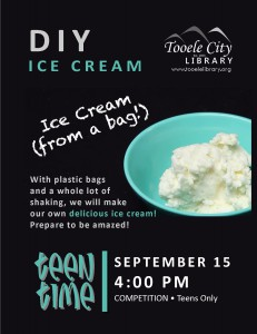 Teen Time: DIY Ice Cream @ Tooele City Library | Tooele | Utah | United States