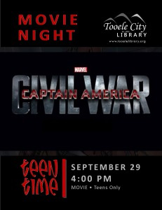 Teen Time: Captain America Civil War (Movie) @ Tooele City Library | Tooele | Utah | United States