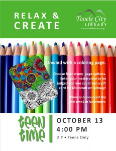 Teen Time: Relax and Create Coloring @ Tooele City Library | Tooele | Utah | United States