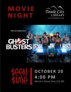 Teen Time: Ghostbusters Movie @ Tooele City Library | Tooele | Utah | United States