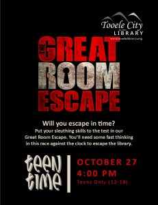 Teen Time: Great Room Escape @ Tooele City Library | Tooele | Utah | United States
