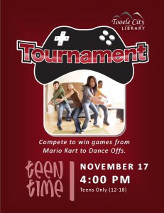 Teen Time: Wii Gaming Tournament @ Tooele City Library | Tooele | Utah | United States