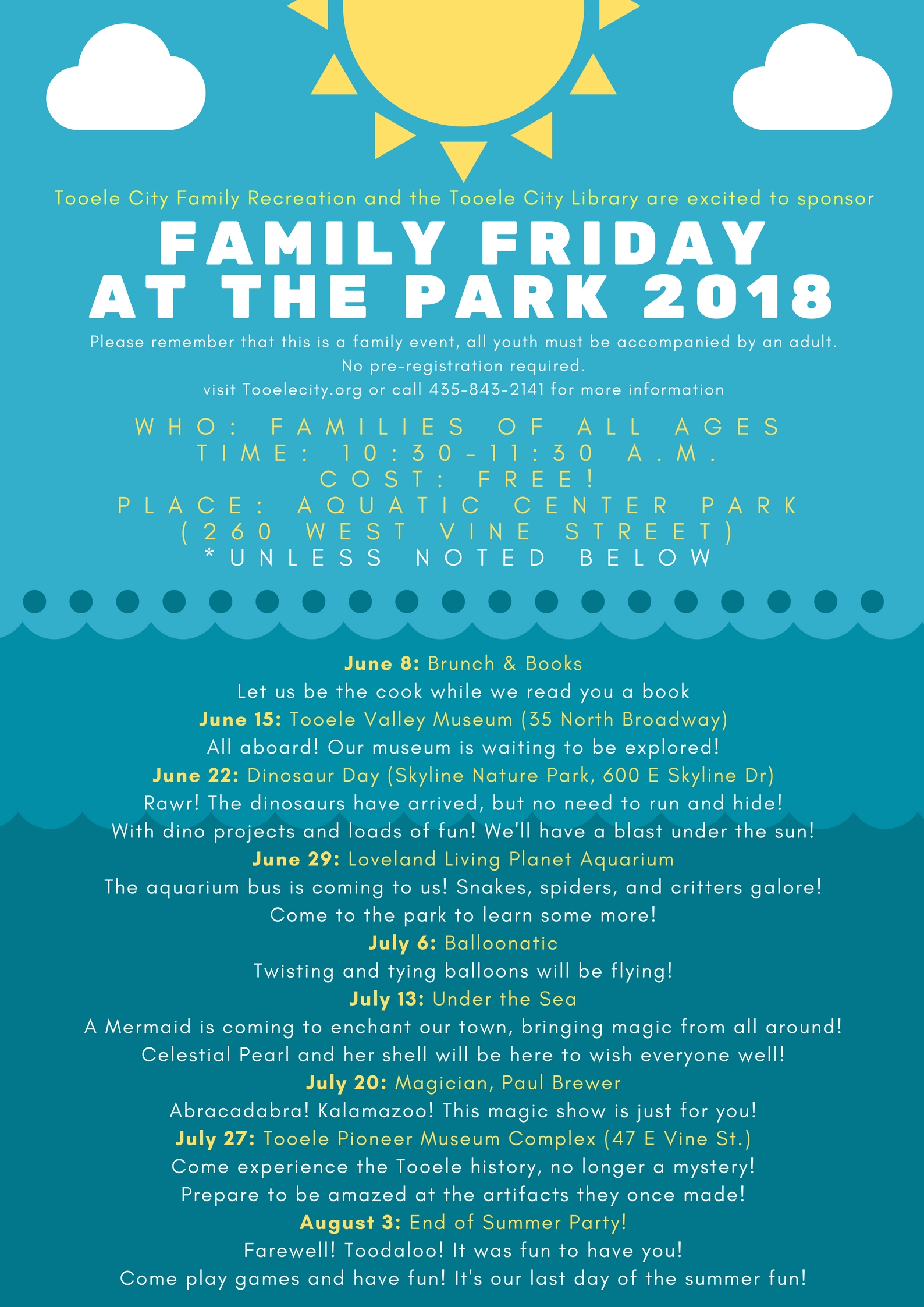 Friday at the Park:  Brunch & Books @ Aquatic Center Park | Tooele | Utah | United States