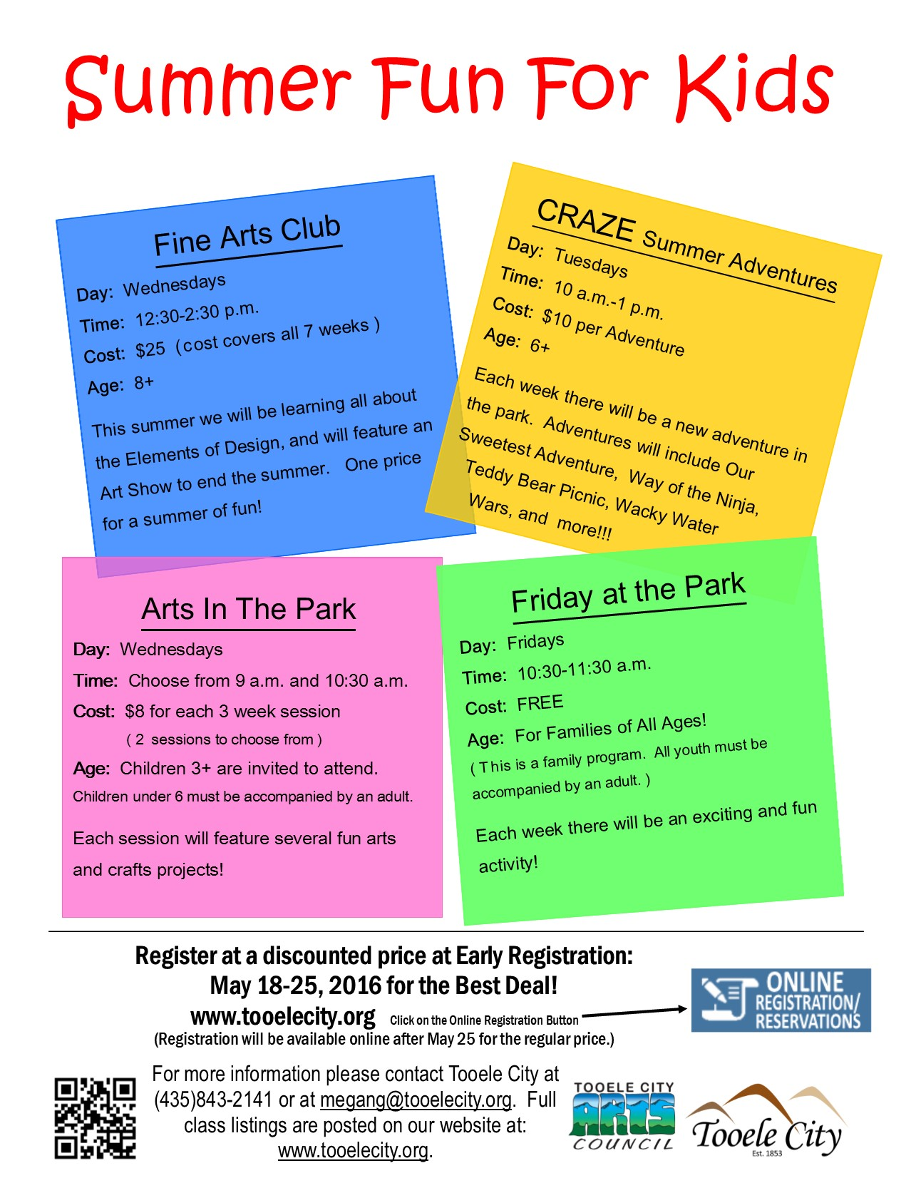 2016 Summer Fun for Kids (Early Registration)