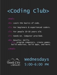 Intro to Coding Club @ Tooele City Library | Tooele | Utah | United States