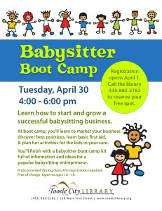 Babysitter Boot Camp (Build a Business) @ Tooele City Library | Tooele | Utah | United States